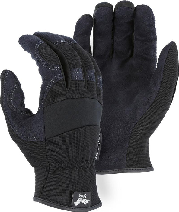 Majestic Hawk 2136BK Black Armor Skin Mechanic Style Gloves Slip-on (DOZEN): Global Construction Supply