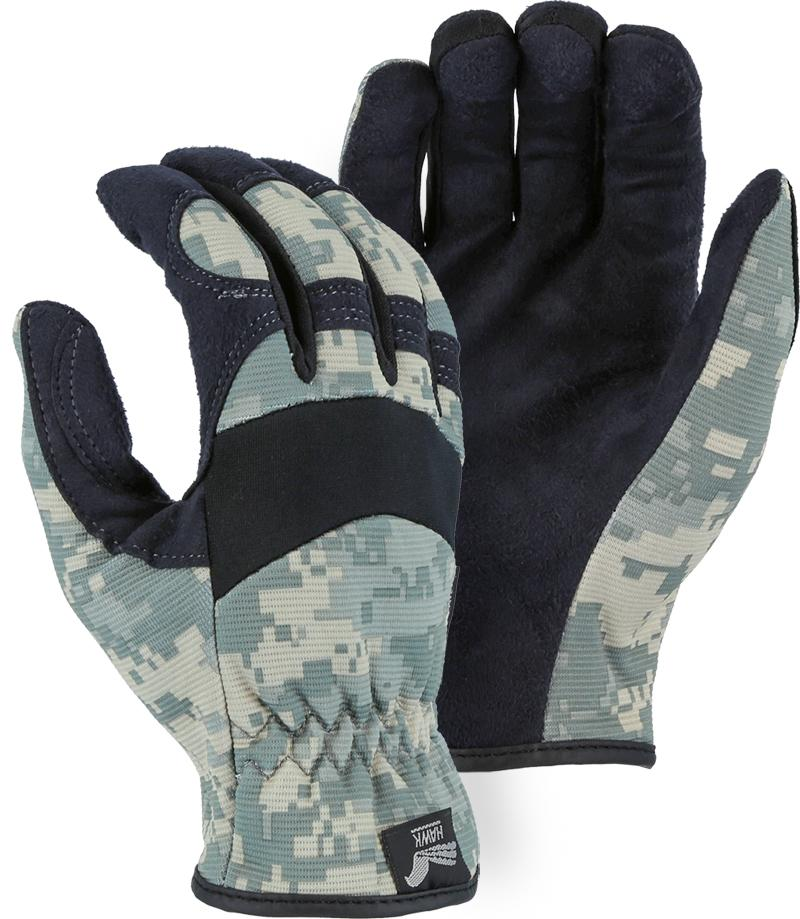 Majestic Hawk 2136C1 Armor Skin Mechanic Style Gloves Camouflage Slip-on (Pair): Global Construction Supply