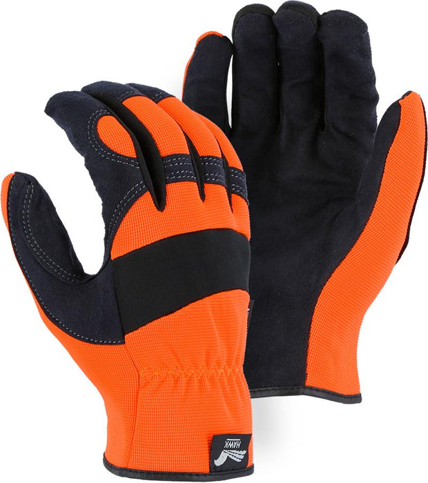 Majestic Hawk 2136HO-P Hi Vis Orange Armor Skin Mechanic Style Knit Gloves Slip-on (Pair): Global Construction Supply
