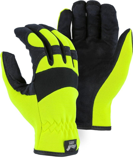 Majestic Hawk 2136HY Hi Vis Yellow Armor Skin Mechanic Style Knit Gloves Slip-on (Pair): Global Construction Supply