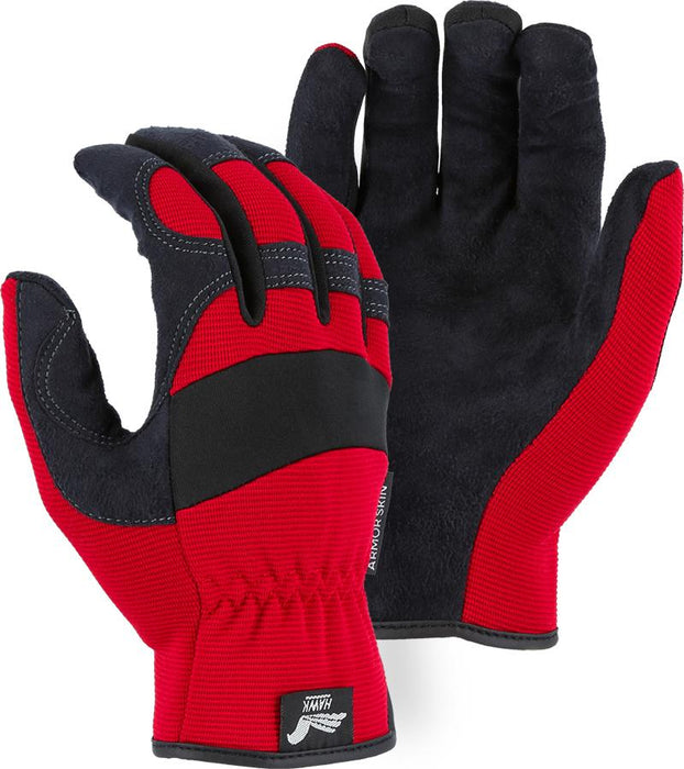 Majestic Hawk 2136R Red Armor Skin Mechanic Style Gloves Slip-on (DOZEN): Global Construction Supply