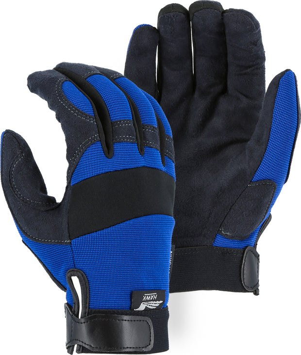 Majestic 2137BL Armor Skin™ Hawk Mechanics Glove with Knit Back Blue (DOZEN)
