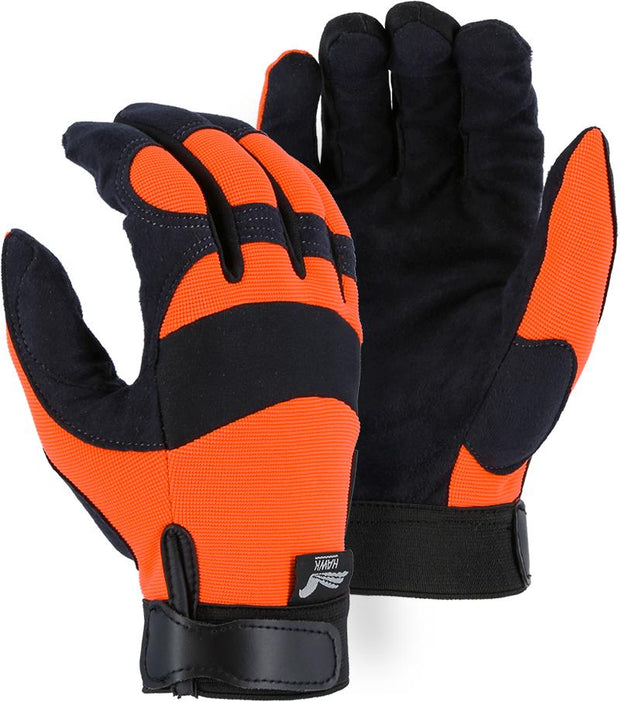Majestic Hawk 2137HO Hi Vis Orange Armor Skin Mechanic Style Gloves Velcro Wrist (DOZEN): Global Construction Supply
