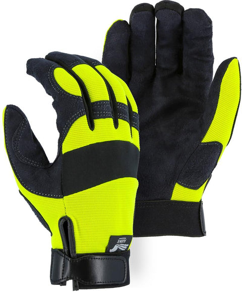 Majestic Hawk 2137HY Hi Vis Yellow Armor Skin Mechanic Style Gloves Velcro Wrist (DOZEN): Global Construction Supply