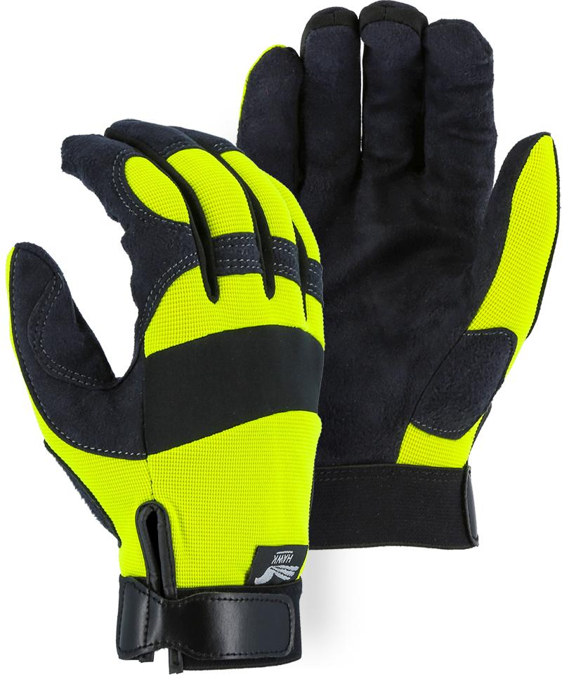 Majestic Hawk 2137HY Hi Vis Yellow Armor Skin Mechanic Style Gloves Velcro Wrist (Pair): Global Construction Supply