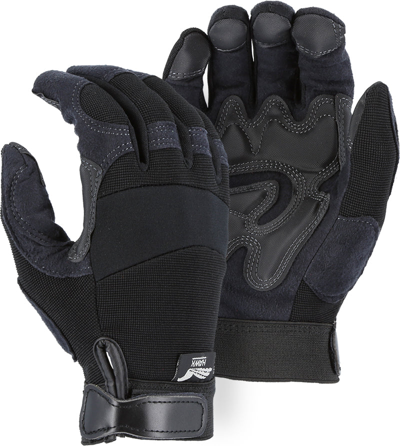 Majestic Hawk 2139BK Armor Skin Mechanic Style Gloves Double Palm (DOZEN)