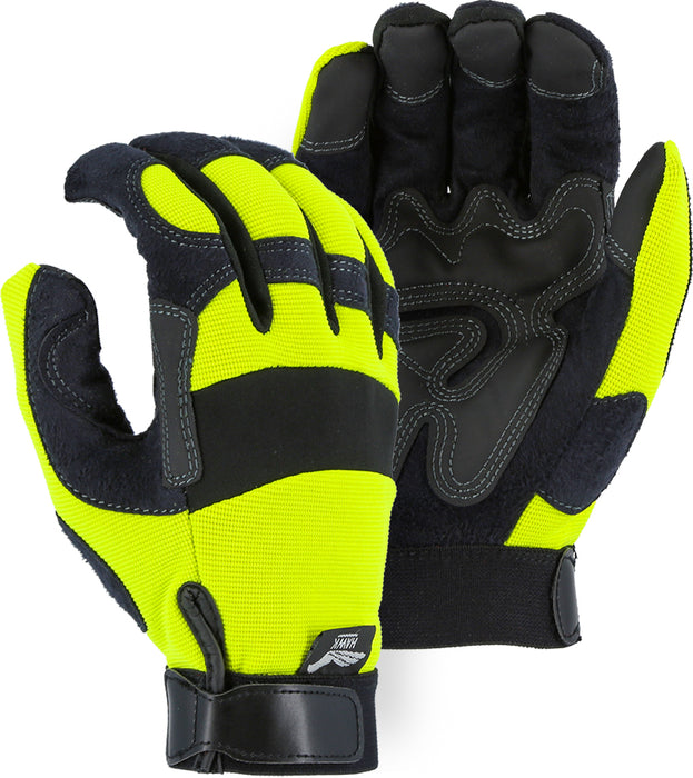 Majestic 2139HY Hi-Vis Yellow Armor Skin Mechanics Glove with PVC Double Palm (DOZEN)