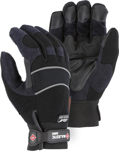 Majestic Winter Hawk 2145BKH Armor Skin Mechanic Style Gloves Waterproof Heatlok Lined (DOZEN): Global Construction Supply