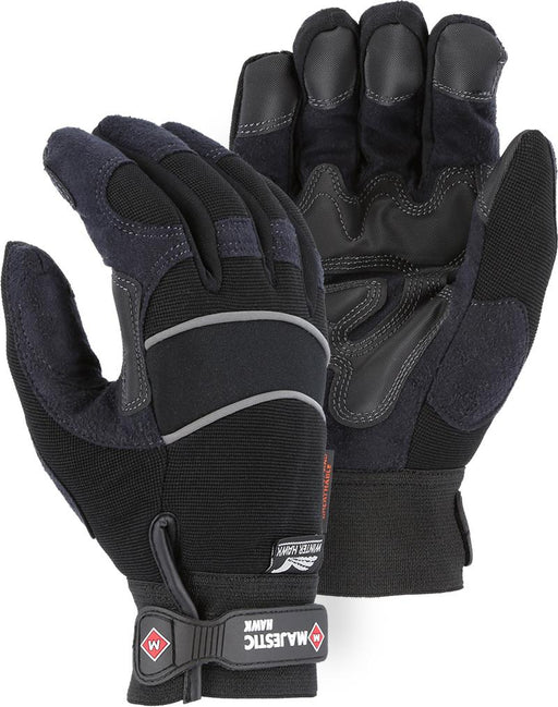 Majestic Winter Hawk 2145BKH Armor Skin Mechanic Style Gloves Waterproof Heatlok Lined (Pair): Global Construction Supply