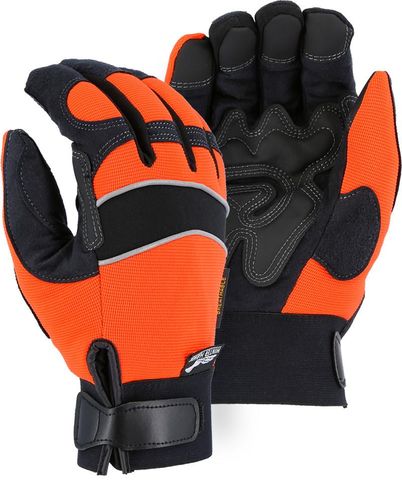 Majestic Winter Hawk 2145HOH Hi Vis Orange Armor Skin Mechanic Style Gloves (DOZEN): Global Construction Supply