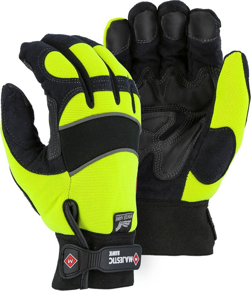 Majestic Winter Hawk 2145HYH Hi Vis Yellow Armor Skin Mechanic Style Gloves (DOZEN): Global Construction Supply