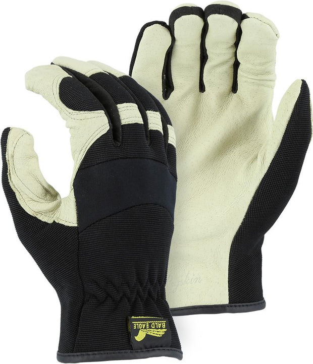 Majestic 2152D Bald Eagle Beige Pigskin Leather Palm Mechanic Style Gloves Black Stretch Back (Pair) - Global Construction Supply