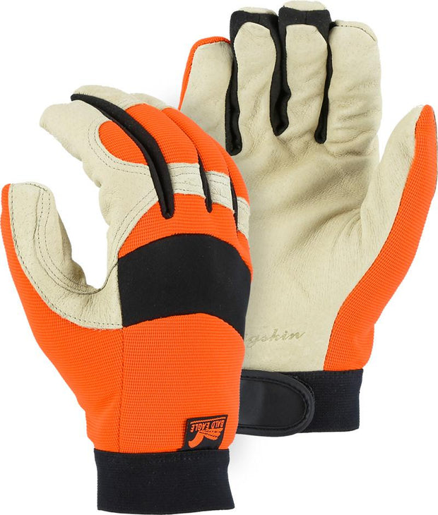 Majestic 2152THV Bald Eagle Hi Vis Orange Stretch Back Beige Pigskin Palm Mechanic Style Gloves Thinsulate Lined (Pair) - Global Construction Supply