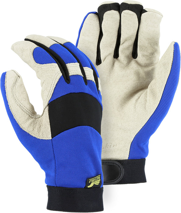 Majestic Bald Eagle 2152TW Pigskin Palm Leather Mechanic Style Gloves Black Stretch Back Waterproof Thinsulate Lined (DOZEN)