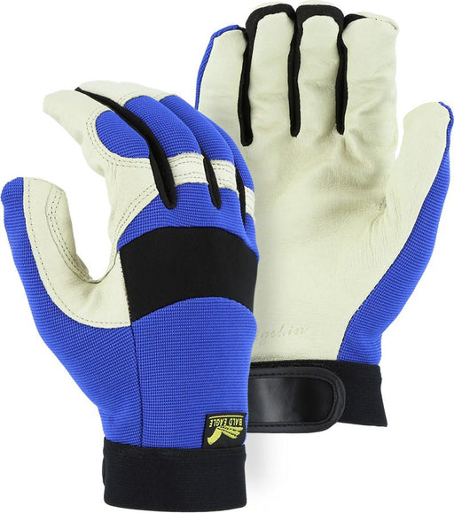 Majestic 2152 Bald Eagle Beige Pigskin Leather Palm Mechanic Style Gloves Blue Stretch Back (Pair) - Global Construction Supply
