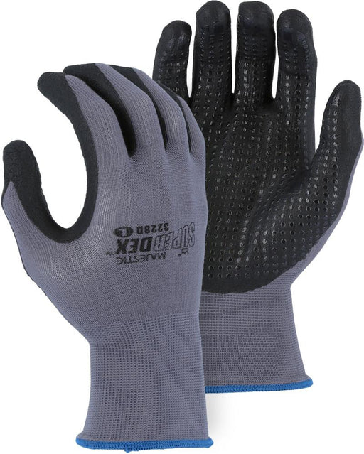 Majestic 3228D SuperDex Micro-Foam Palm Gloves Gray/Black Dotted (DOZEN) - Global Construction Supply
