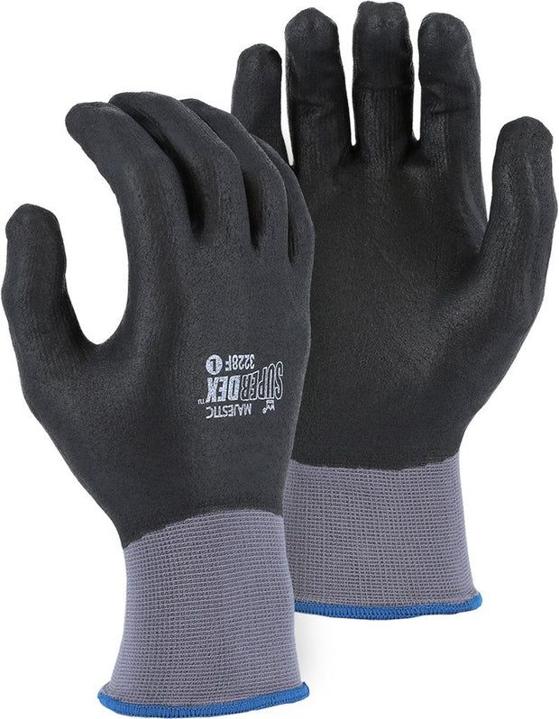 Majestic 3228F SuperDex Full Dip Micro-Foam Nitrile Palm Gloves 15-gauge Nylon Shell (DOZEN) - Global Construction Supply