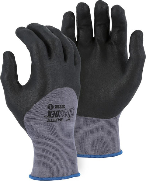 Majestic 3228K SuperDex 3/4 dip Micro-Foam Nitrile Palm Gloves Gray/Black (DOZEN) - Global Construction Supply