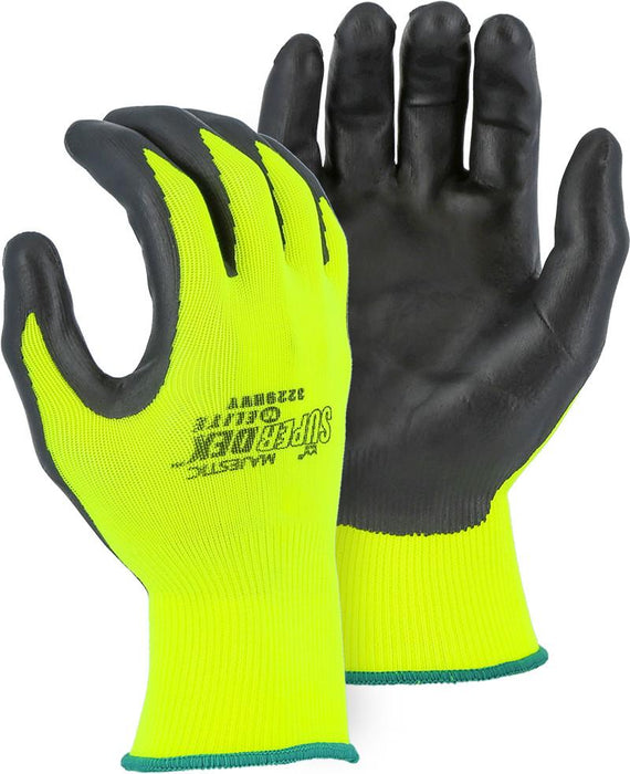 Majestic 3229HVY Hi Vis Yellow SuperDex Elite Gloves Foam Nitrile Palm Coated (DOZEN) - Global Construction Supply