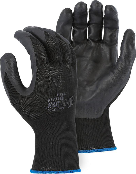 Majestic 3229 SuperDex Elite Black/Black Nitrile Palm Coated Gloves (DOZEN) - Global Construction Supply