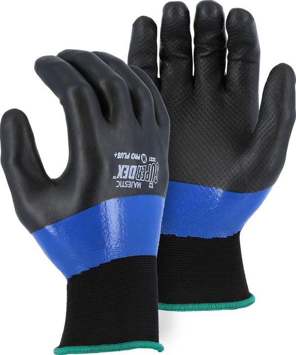 Majestic 3237 SuperDex Blue/Black ¾ Micro Foam Double Dipped Gloves 15-gauge Nylon Shell (DOZEN) - Global Construction Supply