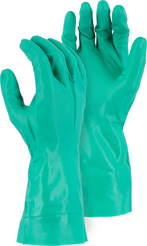 "Majestic 3240 11 Mil Green Nitrile Flock Lined Gloves 13"" Unlined (DOZEN)"