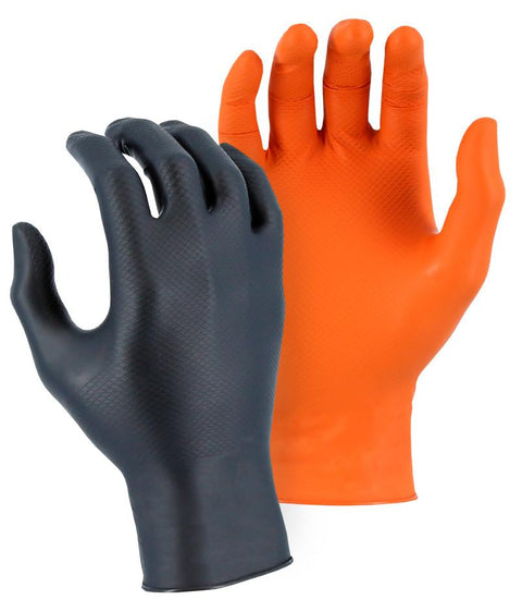Majestic 3276AO Super Grip Orange Disposable Gloves with Embossed Fish Scale Pattern (BOX) - Global Construction Supply