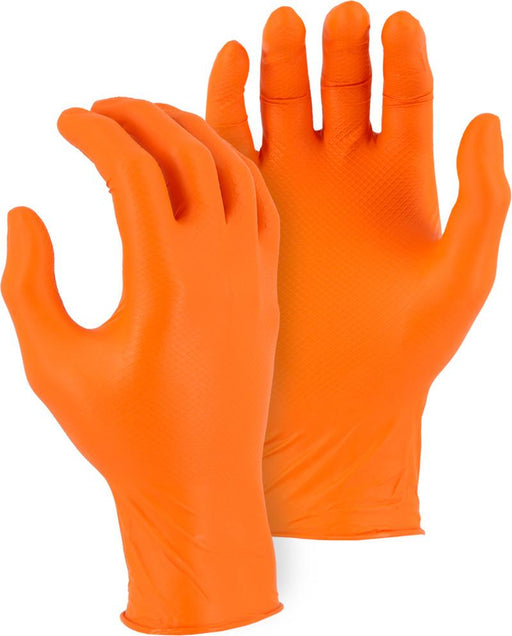 Majestic 3276AO Super Grip Orange Disposable Gloves with Embossed Fish Scale Pattern (CASE) - Global Construction Supply