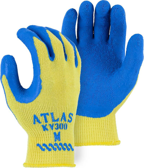 Majestic 3386 Atlas Kevlar Knit Gloves Tuff Blue Latex Palm Dipped Yellow Shell (DOZEN) - Global Construction Supply