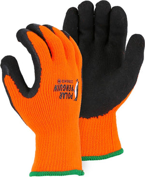 Majestic 3396HO Hi Vis Orange Polar Penguin Winter Lined Knit Gloves Foam Latex Dipped Palm (DOZEN)