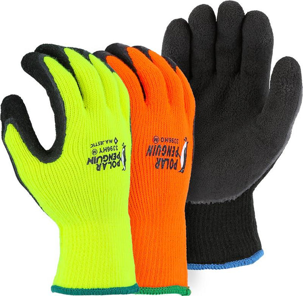 Majestic 3396HO-P Hi Vis Orange Polar Penguin Winter Lined Knit Gloves Foam Latex Dipped Palm (Pair) - Global Construction Supply