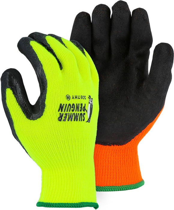 Majestic 3397HO Hi Vis Orange Summer Penguin Latex Palm Coated Knit Gloves (DOZEN) - Global Construction Supply