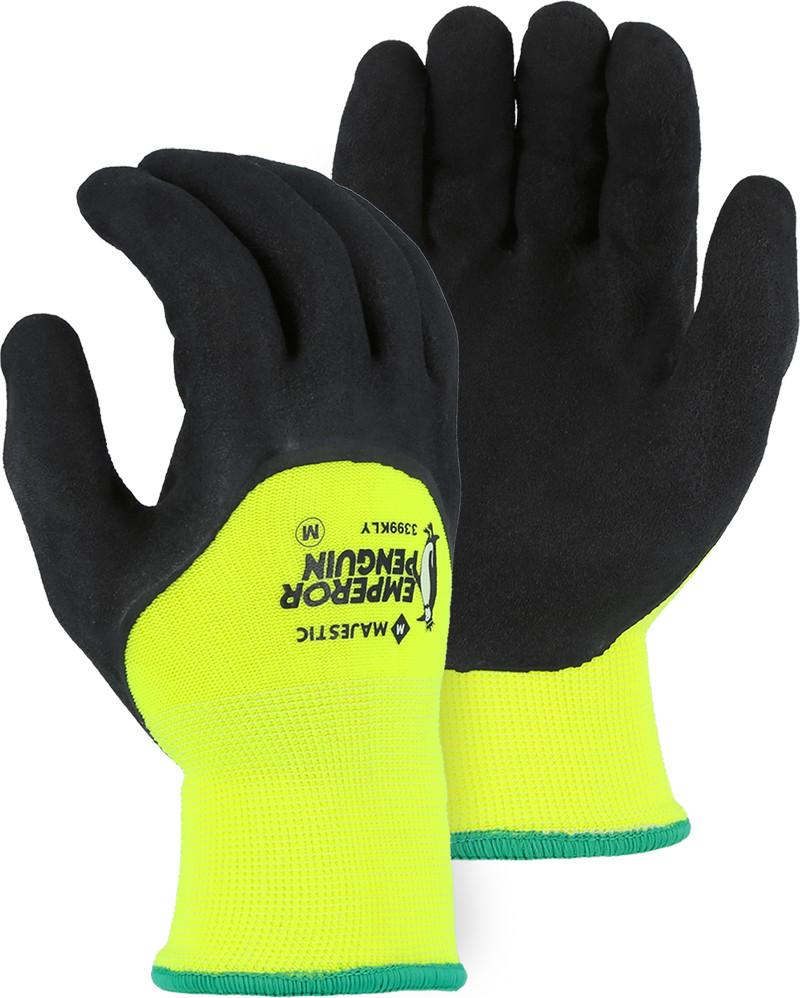 Majestic 3399KLY Emperor Penguin Insulated Waterproof 3/4 Latex Dip Hi Vis Yellow Gloves (DOZEN) - Global Construction Supply