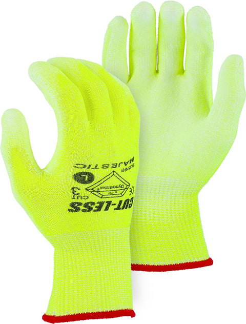 Majestic 3435NHY Cut Resistant Gloves Hi Vis Yellow Dyneema Polyurethane Palm (DOZEN): Global Construction Supply
