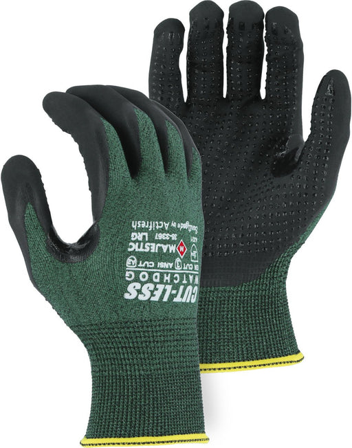Majestic 35-3367 Cut-Less WatchDog Cut Resistant Gloves with ExMicro Foam Dotted Grip (DOZEN): Global Construction Supply