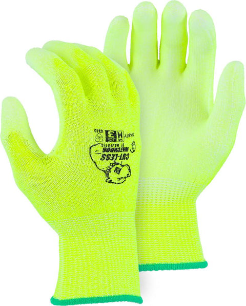 Majestic 35-435Y Hi Vis Yellow HPPE Cut Resistant PU Coated Gloves (DOZEN): Global Construction Supply