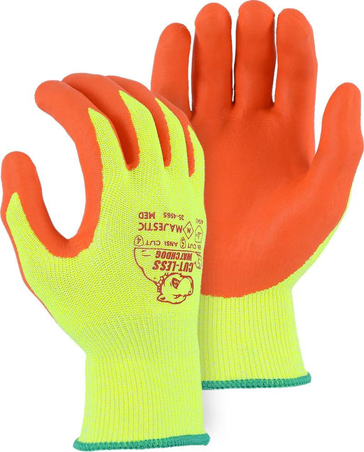 Majestic 35-4565 HPPE Hi Vs Yellow Cut-Less WatchDog Cut Resistant Gloves Nitrile Palm Cut 5 (DOZEN): Global Construction Supply