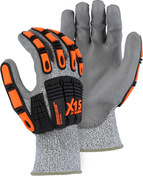 Majestic 35-5305 X-15 HPPE Fiber Gray Shell with Gray PU Palm Coating Cut Resistant Gloves (DOZEN): Global Construction Supply