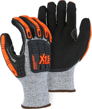 Majestic 35-5575 HPPE Knucklehead X15 TPR Impact Protection Cut Resistant Gloves Dyneema Knit (DOZEN)