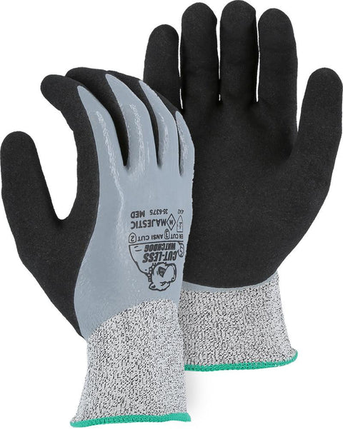 Majestic 35-6375 HPPE Cut-Less WatchDog Cut Resistant Gloves Sandy Nitrile Dip  (DOZEN): Global Construction Supply
