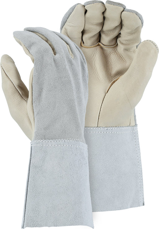 Majestic 3503G Grain Cowhide Palm Leather Welders Gloves Split Gauntlet Cuff Mig/Tig (DOZEN)