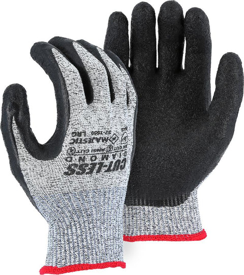 Majestic 37-1550 Cut Resistant Dyneema Black Latex Palm Gloves Cut-Less Diamond (DOZEN): Global Construction Supply
