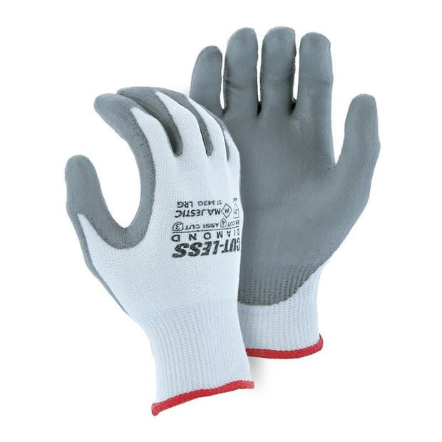 Majestic 37-343G-P Cut Resistant Gloves Dyneema Diamond Heavy Seamless Knit Grey Polyurethane Palm (Pair): Global Construction Supply