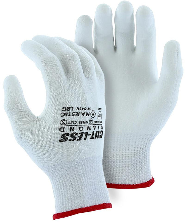 Majestic 37-343N-P Cut Resistant Gloves Dyneema Diamond Heavy Seamless Knit White Polyurethane Palm (Pair): Global Construction Supply