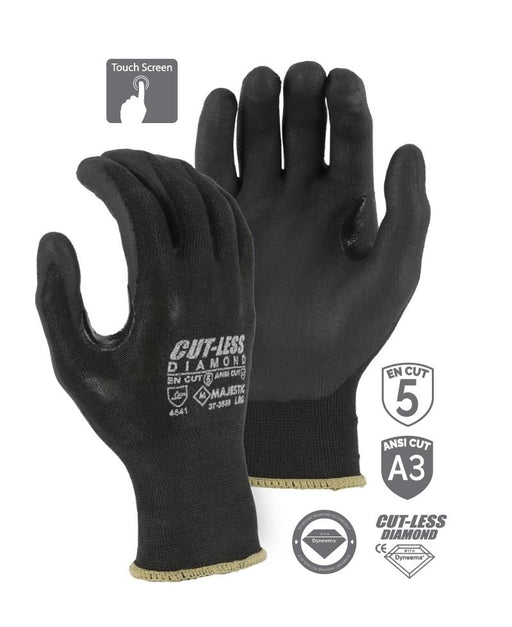 Majestic 37-3565 Touchscreen Cut Resistant Gloves CUT-LESS Diamond Black Seemless Knit Glove with Foam Nitrile Palm (PAIR): Global Construction Supply