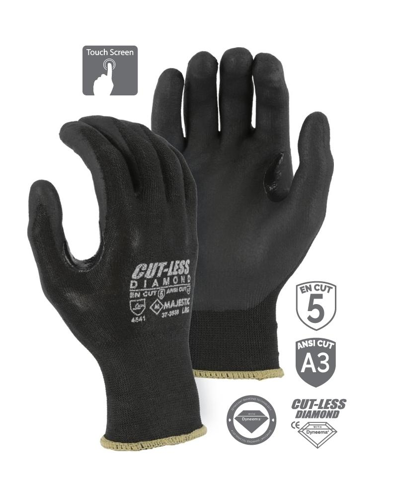 Majestic 37-3565 Cut Resistant Gloves CUT-LESS Diamond Black Seemless Knit Glove with Foam Nitrile Palm (DOZEN)