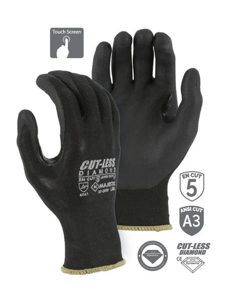 Majestic 37-3565 Touchscreen Cut Resistant Gloves CUT-LESS Diamond Black Seemless Knit Glove with Foam Nitrile Palm (DOZEN): Global Construction Supply