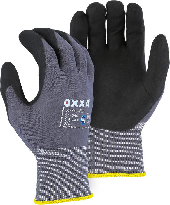 Majestic 51-290 OXXA X-Pro Flex Gloves Micro Foam Nitrile Palm Coating Nylon Shell (DOZEN): Global Construction Supply