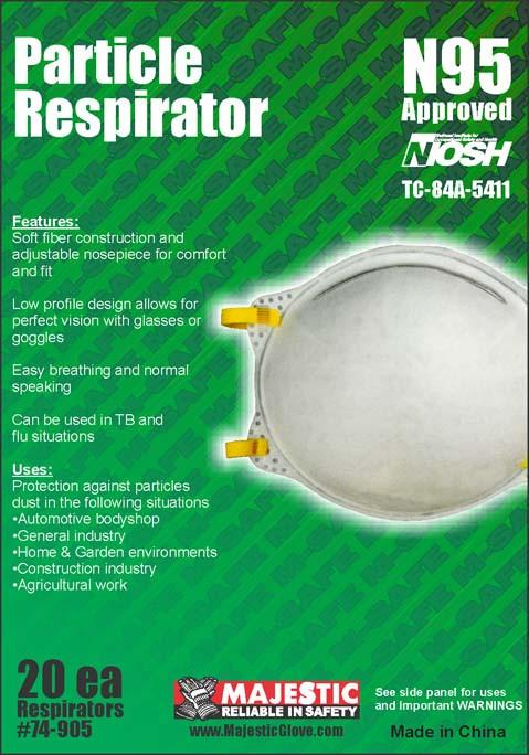 Majestic 74-905 Cone Respirator N95 Approved (CASE): Global Construction Supply
