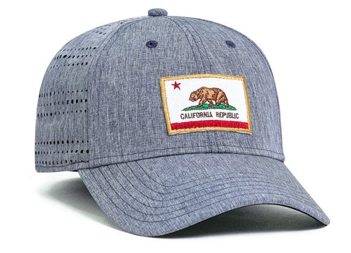 Sample Image Color Chambray/Heather Pacific Headwear 747 Perforated Hook-and-Loop Hat